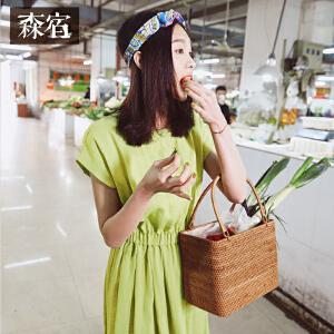 【低至1折起】森宿Z茉莉花菜场夏装新款文艺复古收腰修身连衣裙女中长裙子