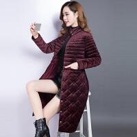 棉衣女中长款2017冬装新款韩版金丝绒中年收腰羽绒棉袄外套潮