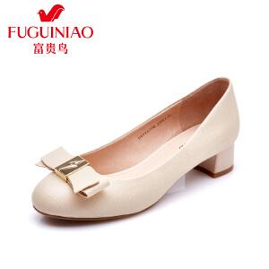 富贵鸟女单鞋 夏季头层羊皮套脚女鞋 蝴蝶结装饰女士浅口鞋 压纹圆头女鞋