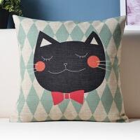 猫卡通可爱个性抱枕沙发床头腰枕腰靠枕汽车靠垫棉麻抱枕套不含芯
