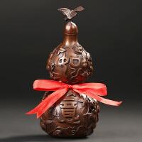 铜葫芦摆件紫铜葫芦家居装饰品客厅办公室工艺品风水摆件