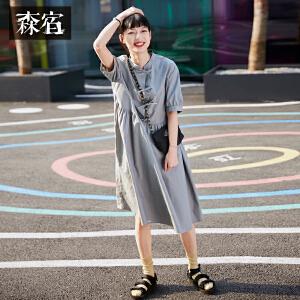 【尾品直降】森宿夏装2018新款文艺纯色系带短袖连衣裙女