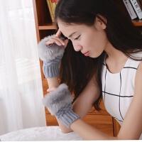 韩观手套女冬可爱女士手套韩版冬季保暖手臂套毛线半指手套