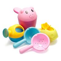 儿童洗澡玩具戏水车男孩女孩小黄鸭洗头杯花洒宝宝洒水壶套装沙滩 洗澡5件套 颜色随机