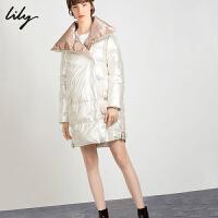 【此商品每满200减50,到手价949元】 Lily2019冬新款女装茧型拼色珠光翻开领中长款白鸭绒羽绒服女1964