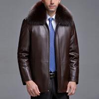 冬装中老年真皮皮衣男士皮草男装绵羊皮狐狸领貂皮内胆爸爸装外套