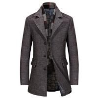 毛呢大衣男中长款 翻领商务休闲中年呢外套羊毛呢子大衣冬季加厚