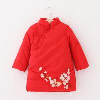 女童复古民族风连衣裙秋冬新款童装儿童宝加厚保暖花朵刺绣棉衣