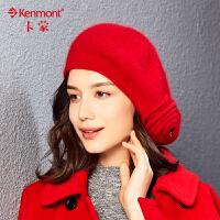 秋冬天帽子女羊毛针织帽户外保暖英伦复古贝雷帽修脸护耳帽毛线帽9008
