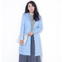 冬季新款韩版轻薄羽绒服女中长款修身时尚超轻超薄连帽外套潮