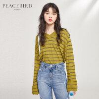 太平鸟条纹套衫女2019秋季新款v领长袖短款宽松设计感上衣女装