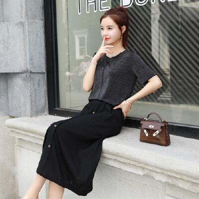 棉麻连衣裙女两件套中长款夏装2018新款显瘦极简冷淡风套装裙子 发货周期:一般在付款后2-90天左右发货,具体发货时间请以与客服协商的时间为准