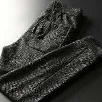 舒适保暖高端 欧美风男士裤子 秋冬针织卫裤 磨毛加厚休闲裤 男 深灰色