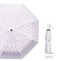 文艺雨伞女防晒太阳伞防紫外线遮阳伞折叠晴雨两用黑胶简约小清新 粉红色