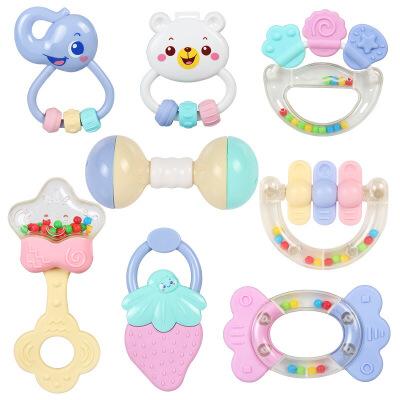 婴幼儿玩具 幼儿手摇铃玩具牙胶磨牙棒套装宝宝儿童生日礼物 可水煮8件套
