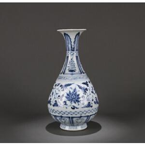 元代至正型青花缠枝牡丹花卉纹玉壶春瓶