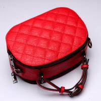 七夕礼物新款欧美真皮女包菱格牛皮包包单肩包手提包箱包 大红色(L5053)