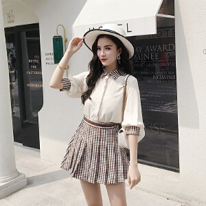 RANJU然聚 2018夏季女装新品新款韩版格子拼接衬衫半身裙套装裙两件套女