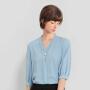 【超值一口价:117】LILY 珍珠扣V领泡泡袖半袖垂感宽松套头雪纺衬衫女