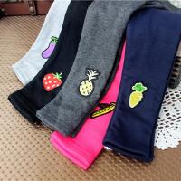 女童加绒打底裤新款韩版儿童中童棉质加厚刺绣水果长裤铅笔裤