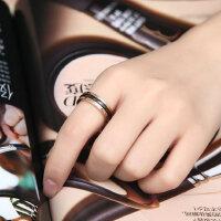 韩版镀18K玫瑰金复古黑色罗马情侣戒指女对戒尾戒食指关节戒指环