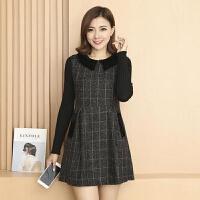 韩观 女装秋冬新款女士长袖毛呢连衣裙 黑色
