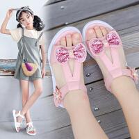女童凉鞋学生鞋夏季新款蝴蝶结公主鞋中童儿童凉鞋沙滩鞋女孩