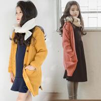 秋冬季韩版童装女童全棉针织衫V领毛衣中大童开衫中长款外套毛线
