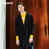 viishow2017春装新款男士中长款风衣休闲时尚大衣青年翻领潮外套