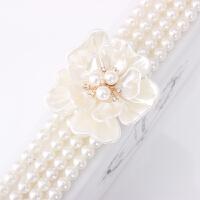 新款花朵水钻珍珠腰封女白色腰带松紧百搭韩国配连衣裙子装饰腰链