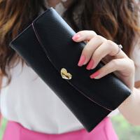 七夕礼物新款女士钱包 女 长款搭扣简约甜美学生薄钱包可爱两折皮夹子钱夹 黑色