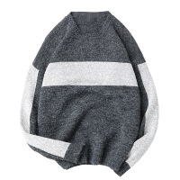 2017秋冬新品男装 宽松套头圆领男式针织毛衫潮牌拼色毛衣男