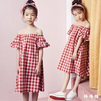 韩国童装2018夏装新款韩版女童露肩荷叶短袖连衣裙中大童格子长裙