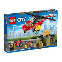 男孩小颗粒积木玩具 城市系列消防局船车直升机组合