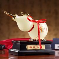 现代中式琉璃玉福禄如意葫芦摆件桌面摆件招财装饰品*礼物