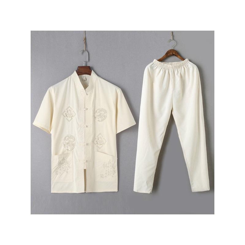 唐装男衬衫套装男士短袖夏季上衣中老年汉服中国风男式晨练太极服 发货周期:一般在付款后2-90天左右发货,具体发货时间请以与客服协商的时间为准
