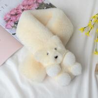 冬季仿獭兔毛皮草小熊围巾儿童可爱兔毛毛围脖亲子加厚保暖脖套女