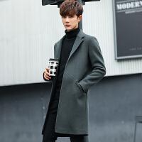 秋冬韩版中长款男风衣纯色休闲毛呢料外套青年英伦呢大衣披风潮流