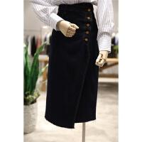 设计款时髦 不对称系扣牛仔半身裙包臀裙女显瘦韩版侧开叉长裙子 深蓝色