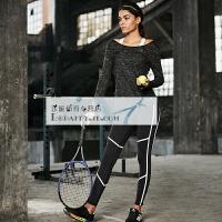201804011859396健身服女套装健身房宽松性感瑜伽服套装女跑步运动三件套长袖