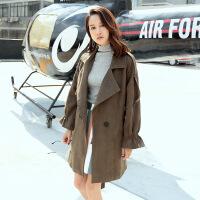 潮范韩版时尚纯色毛呢大衣女装外套秋冬个新款宽松长款呢子衣 均码