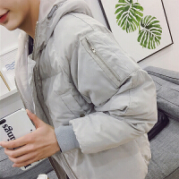 棉衣男冬季韩版学生青年棉袄男中长款加厚大码宽松面包服外套 灰色 S