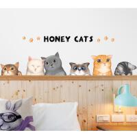 可爱小猫咪贴纸墙壁贴画卧室床头背景装饰卡通墙贴壁纸宿舍大学生