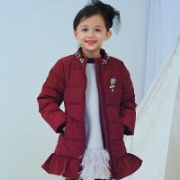 芭比童装儿童装女童荷叶边羽绒服冬款轻薄短款外套
