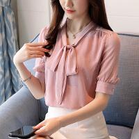 AGECENTRE 2018夏季新款韩版V领蝴蝶结雪纺衫修身短袖通勤上衣显瘦打底衫女