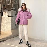 七格格女冬季2019年新款韩版宽松中长款棉袄加厚连帽学生外套