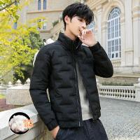 羽绒服男短款立领潮流外套保暖帅气休闲冬装青少年纯色棉衣上衣