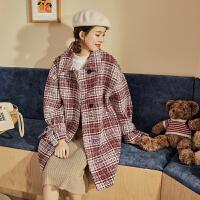 【新品价289.9元】唐狮冬季新款仿毛呢外套女韩版格子网红风中长款呢子大衣外套
