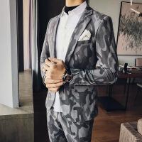 17秋冬新品男士韩版修身西服迷彩单西个性休闲绅士英伦西装夜店 图色