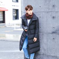 冬季新款韩版休闲青年百搭加肥加大码个性男士中长款羽绒服潮 黑色 M